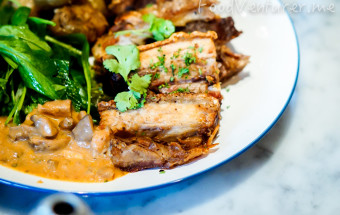 Crispy Pork Belly with Sauce Diane